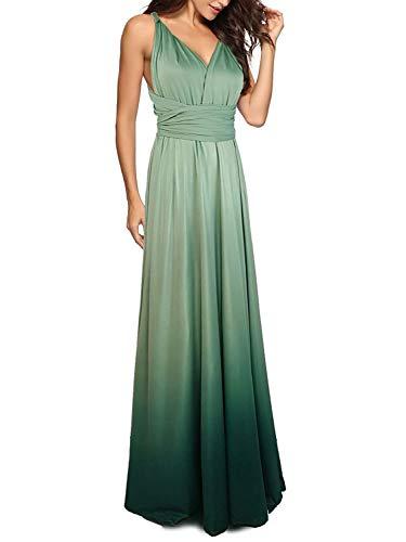 Joeoy Women's Infinity Convertible Multi Way Wrap Maxi Dress Bridesmaid Cocktail Gown Dress (Gradient ()