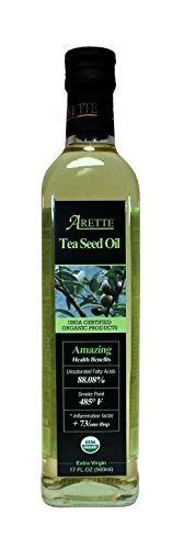Arette Organic Tea Seed Oil (USDA Certified) extra virgin, cold pressed 17 oz (500ml)
