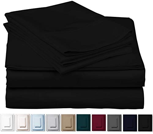 True 1000 Thread Count 100% Pure Egyptian Cotton Bed Sheets, 4-Pc Queen Black Sheet Set, Single Ply Long-Staple Combed Cotton Yarns, Best Sateen Weave, Fits Mattress Upto 17'' Deep Pocket