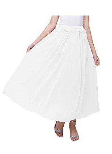 Kileyi Women's Long A Line High Elastic Waist Swing Chiffon Pleated Midi Skirt White S ()