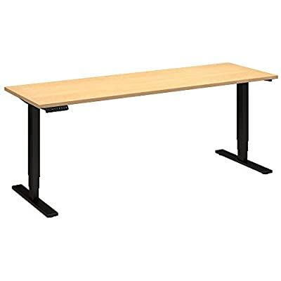 Move 80 Series by Bush Business Furniture 72W x 24D Height Adjustable Standing Desk in Natural Maple with Black Base