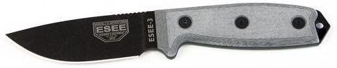 ESEE Knives 3P-MB Fixed Blade Knife w Molded Polymer Sheath MOLLE Back Black Blade Coyote Brown Sheath