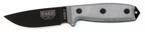 ESEE Knives 3P-MB Fixed Blade Knife w/Molded Polymer Sheath & MOLLE Back (Black Blade/Coyote Brown Sheath)