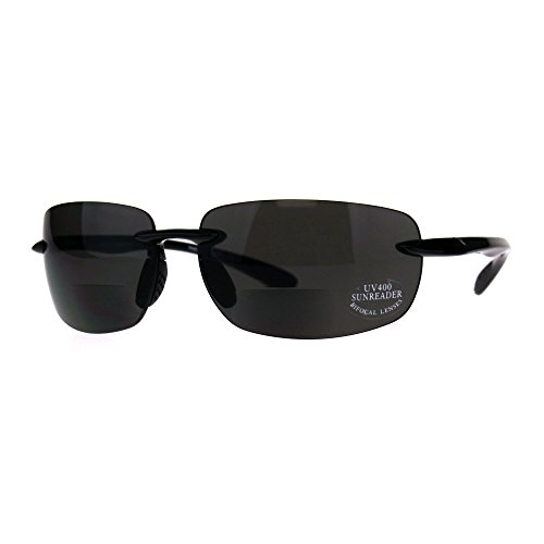(Mens Rimless Warp Sport Sunglasses With Bifocal Reading Lenses All Black 3.0)