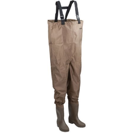 Hodgman MACKCBC10 Mackenzie Nylon and PVC Cleated Bootfoot Chest Fishing Waders, Size 10, Brown
