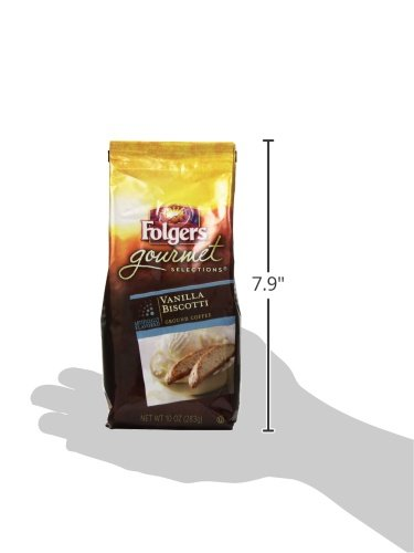 Folgers Gourmet Selections Vanilla Biscotti Flavored Ground Coffee, 10 Ounce
