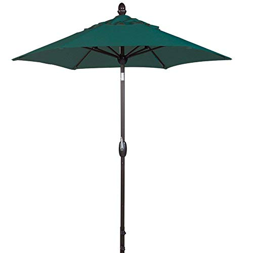 SORARA Patio Umbrella Outdoor Market Table Umbrella with Push Button Tilt&Crank&Umbrella Cover, 7.5 Feet, Forest Green