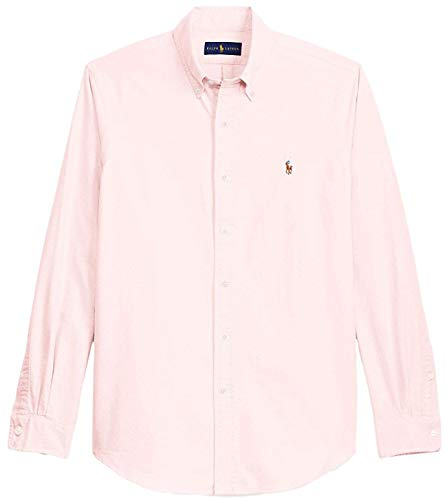 Mens Classic Fit Oxford Longsleeve Buttondown Shirt (Large, NicePink) ()