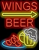 Wings Beer with Right Arrow Neon Sign