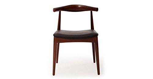 Kardiel Wegner Style Elbow Dining Chair, Black Italian Leather/Ash Wood in Walnut Stain (Black Leather Italian Dining Chair)