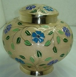 Brass Leaf Motif - Low Profile Cremation Urn - Colorful Enameled Funeral Urn for Human Ashes - Burial urn with lacquer finish - Brass - Fits Remains of Adults up to 200 lbs