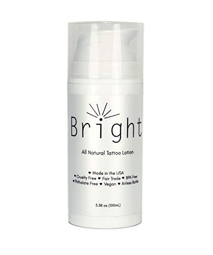 Bright Aftercare All Natural Tattoo & Permanent Cosmetics and Microblading Lotion and Moisturizer Product, Water Based for Tattoo Protectant and Enhancing Aftercare, Vegan Friendly and Cruelty Free