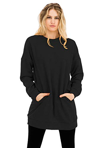 NANAVA Casual Loose Fit Long Sleeves Over-Sized Crew Neck Sweatshirts Charcoal S/M ()
