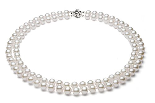 14k White Gold Double Strand White Akoya Cultured Pearl Necklace AA+ Quality (5.5-6mm), 17