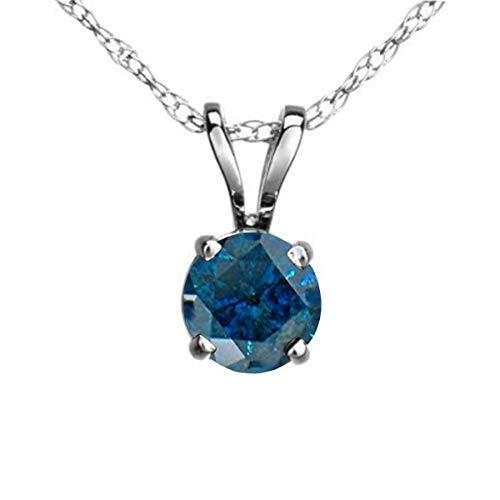 Dazzlingrock Collection 0.25 Carat (ctw) 14K Round Blue Diamond Ladies Solitaire Pendant 1/4 CT, White Gold 1/4 Carat Blue Diamond Solitaire
