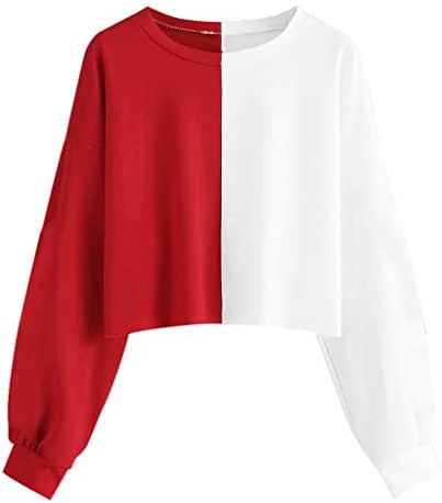 NOMUSING Womens Solid Long Sleeve Splice Sweatshirt Short Pullover Hooded Tops Blouse Slouchy Casual Short Tunic