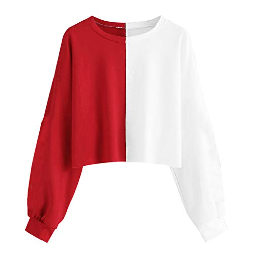 (Alangbudu Women Half Contrast Color Crop Top Casual Sweatshirt Long Sleeve Pullover Cami Lightweight Loose Fit Blouse Red)