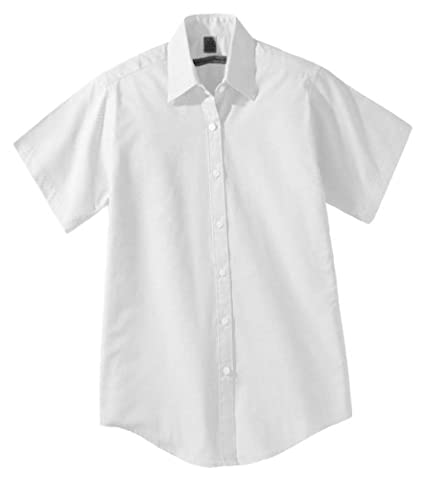 Edwards Garment Women's Short Sleeve Oxford Shirt_WHITE_X-Small - Edwards Button Down Oxford Shirt