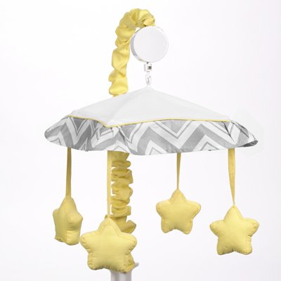 Yellow and Gray Zig Zag Musical Baby Crib Mobile by Sweet Jojo Designs from Sweet Jojo Designs