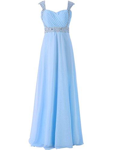 JAEDEN Long Bridesmaid Dresses Chiffon Prom Party Gown Cap Sleeve Blue Size US 8 -