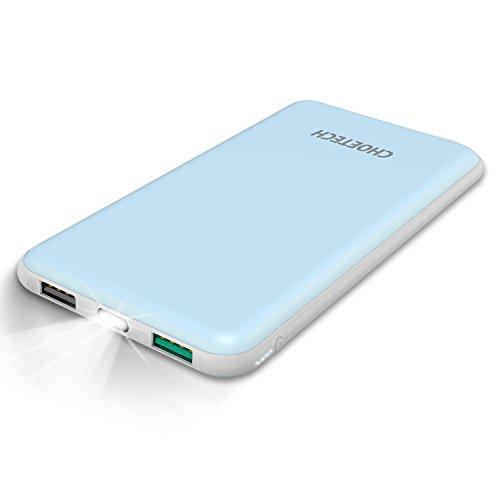 Batería Portatil 10000mAh CHOETECH Cargador Portatil Power Bank Dual USB Batería Externa para Galaxy S8/S8 Plus/Note...