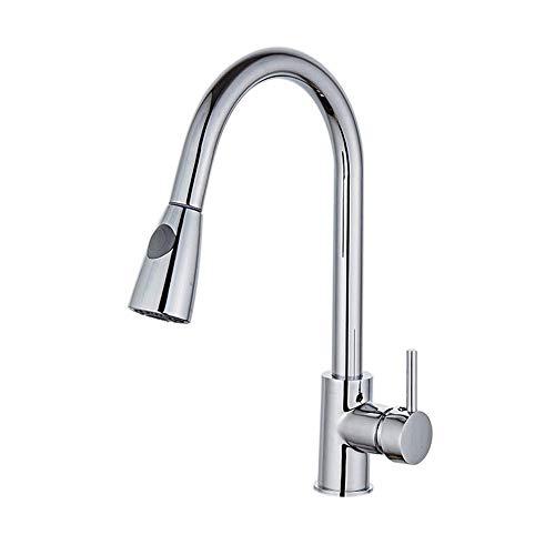 Kitchen Sink Faucet Pull Down Sprayer Single Handle, Kitchen Faucet Single Hole with Pull Out Spray,Free Base (Single Hole Pull Out Spray)