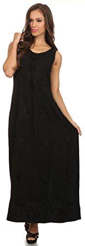 Long Top Sakkas Adjustable With Dress Corset Stella Black Tank Caftan Embroidery 5fPnqOpx