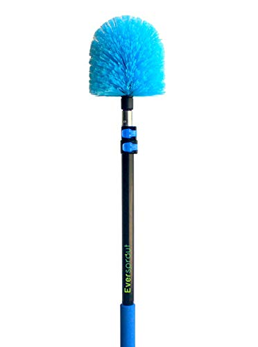 EVERSPROUT 5-to-13 Foot Cobweb Duster and Extension-Pole Combo (20 Ft. Reach, Soft Bristles) | Hand Packaged | Lightweight, 3-Stage Aluminum Pole | Indoor & Outdoor Use Brush Attachment