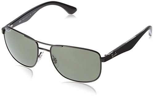 Ray-Ban RB3533 Square Metal Sunglasses, Black/Polarized Green, 57 mm