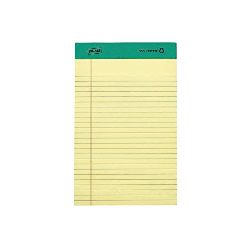 - Staples 815590 100% Recycled Narrow Ruled Perforated Notepads Canary 5