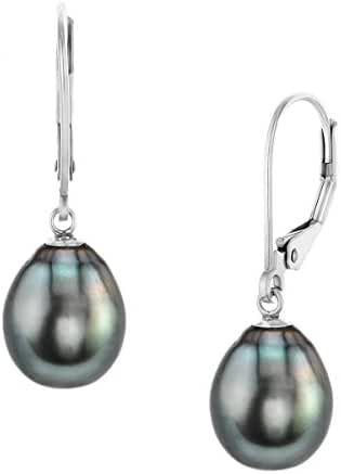 Sterling Silver Drop Tahitian South Sea High Luster Cultured Pearl Leverback Earrings
