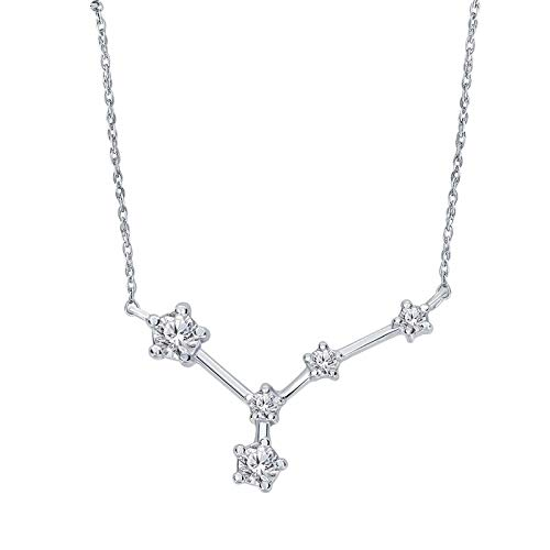 Triss Jewelry 1/5 Cttw Diamond Cancer Zodiac Sign Pendant Necklace For Women in Sterling Silver