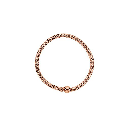Sterling Silver Rose Gold Plated 4.3mm Woven Stretch Bracelet by LoveBrightJewelry
