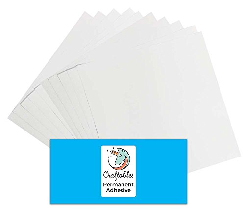 Craftables White Vinyl Sheets - Permanent, Adhesive, Glossy & Waterproof | (10) 12 x 12 Sheets- for Crafts, Cricut, Silhouette, Expressions, Cameo, Signs