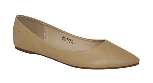 Bella Marie Angie-18 Women's Classic Pointy Toe Ballet Slip On Flats Shoes (8.5, Beige Pu)