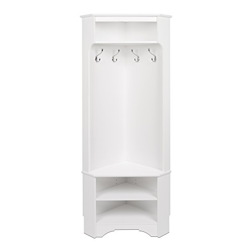 Prepac WSCC-0606-1 Corner Hall Tree in White (Closet Armoire Corner)