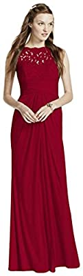 Sleeveless Long Mesh Bridesmaid Dress with Corded Lace Style F15749
