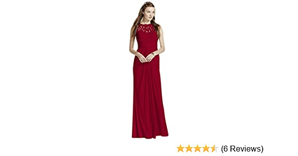 7809c4c9baf Amazon.com  Sleeveless Long Mesh Bridesmaid Dress with Corded Lace ...