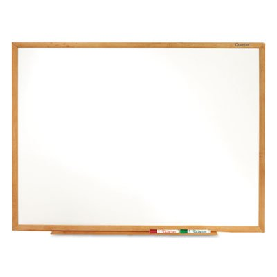 Classic Melamine Whiteboard, 72 x 48, Oak Finish Frame, Sold as 1 Each by Quartet