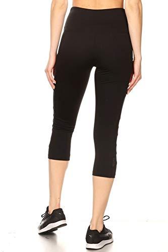 ShoSho Womens High Waist Sports Capris Yoga Tummy Control Leggings Activewear Stretch Bottoms Cropped Athletic Pants with Mesh Panels & Phone Pockets Black Medium