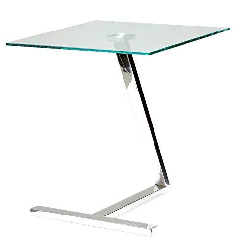 Cortesi Home CH-ET636713 Zee Square Glass End Table 18x18x20 Chrome