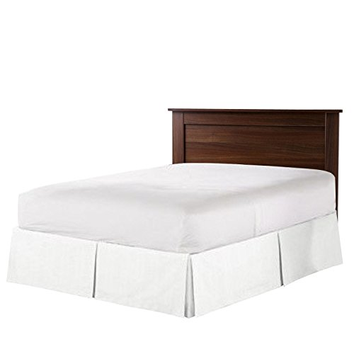 Nestl Bedding Double Brushed Microfiber Dust Ruffle, 14-Inch Tailored Drop Pleated Queen Bed-Skirt, White