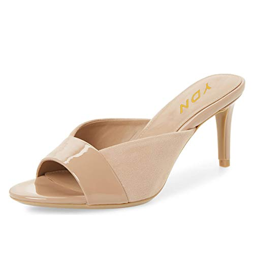 Peep Toe Slide - YDN Women Trendy Peep Toe Mid Heel Pumps Slip on Mules Slide Slipper Stiletto Shoes Nude 7