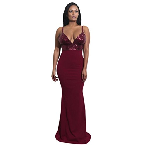 HODOD Fashion Women's Mini Stripe Sequined Sexy Cocktail Party Dress (Red Carpet Designer Dresses)