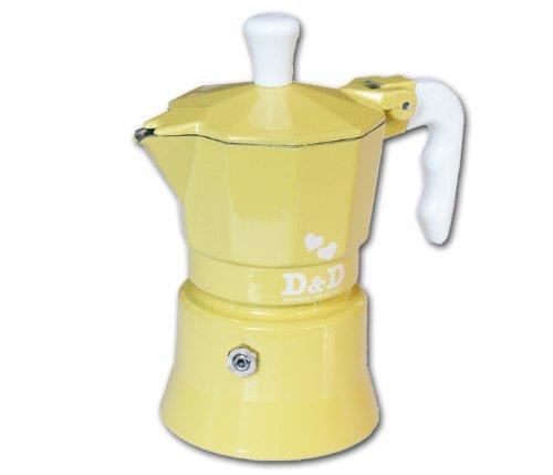 Espresso D & De Cafetera 3 Tazas, Diseño de Flores, Color Amarillo ...