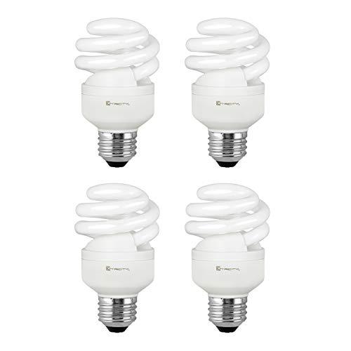Compact Fluorescent Light Bulb T2 Spiral CFL, 2700k Soft White, 9W (40 Watt Equivalent), 540 Lumens, E26 Medium Base, 120V, UL Listed (Pack of 4) ()