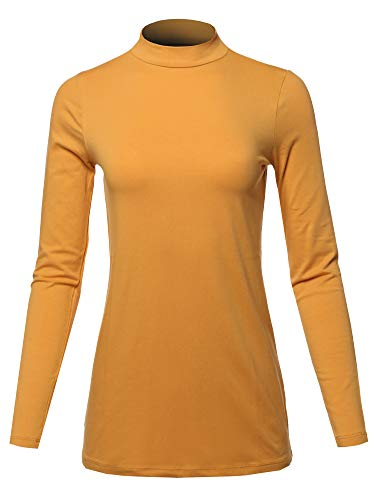 A2Y Basic Solid Soft Cotton Long Sleeve Mock Neck Top Shirts, Yawtel0002 Ash Mustard, Medium ()