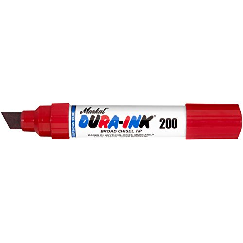(Markal 96916 Dura-Ink 200 Permanent Ink Marker with Broad Chisel Tip, Red (Pack of 12))