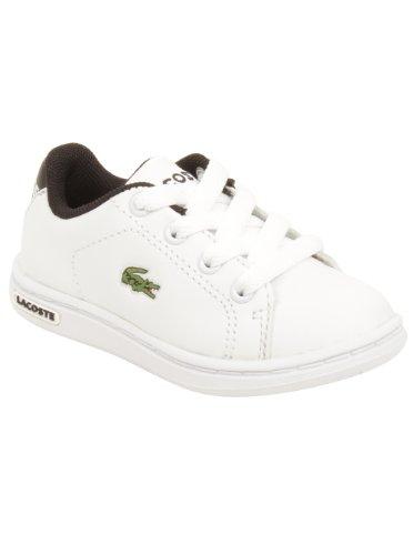 Lacoste Infant Carnaby Fra Sneaker in White/Black 7 M US