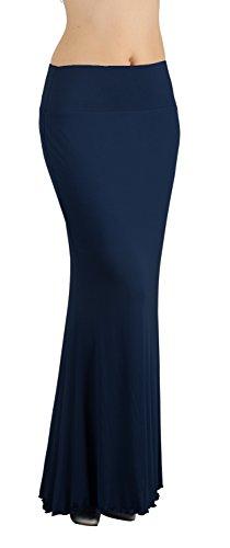 iLoveSIA Jupe Longue Femme Moulante Extensible Bleu Marine